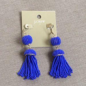 J. Crew Royal Blue Tassel Earrings